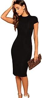 Tamina Women's Mock Neck Solid Bodycon Dress