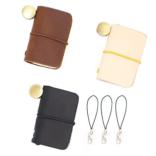 三個かわいい日記 スーパーミニ トラベラーズ レザーノート 本革 手帳 革製の手作りメモ帳 装飾