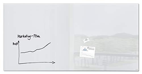 Sigel GL225 Pizarra Pizarra magnética de cristal, 200 x 100 cm, blanco puro - Artverum