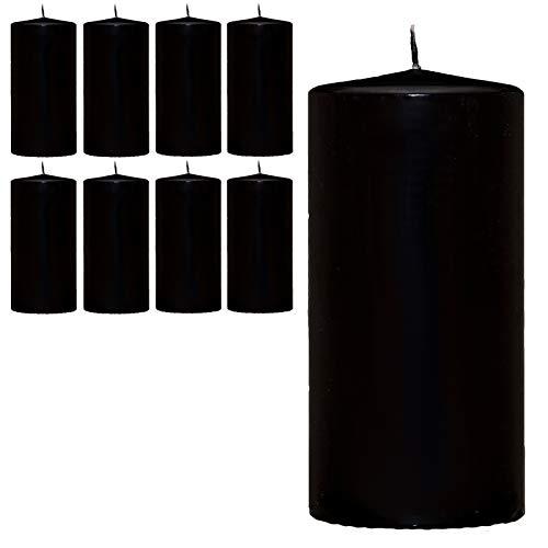 Smart-Planet Candele Ambiente – Candele a colonna, 12 cm, confezione da 8 pezzi, colore nero, 12 cm di altezza, diametro 5,8 cm