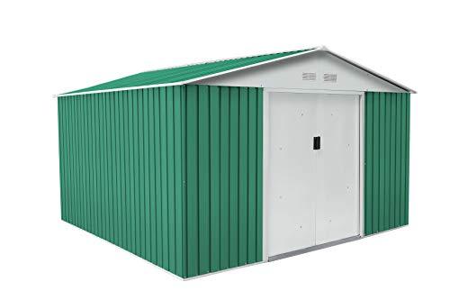 Gardiun KIS12130 - Caseta Metálica Bedford, 11.59 m² Exterior, 361 x 321 x 205 cm, Acero Galvanizado Verde