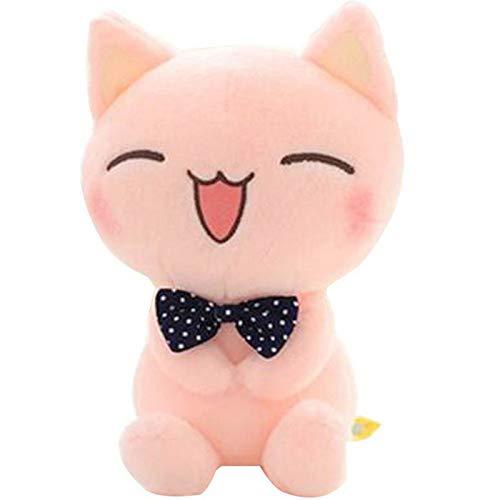 DOUFUZZ Kawaii Peluche Rosa Kitty Cat con Cravatta Giocattolo farcito Bambola Animale Bambino Bambini Bambini Regalo di Compleanno Decorazioni per la casa 28cm Rosa