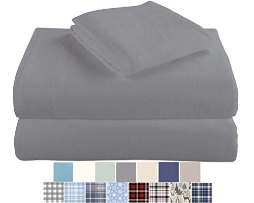 Morgan Home Fashions Cotton Turkish Flannel Sheets 100% Brushed Cotton for Supreme Comfort  Deep Pockets  Warm and Cozy Great for All Seasons Grey Full
