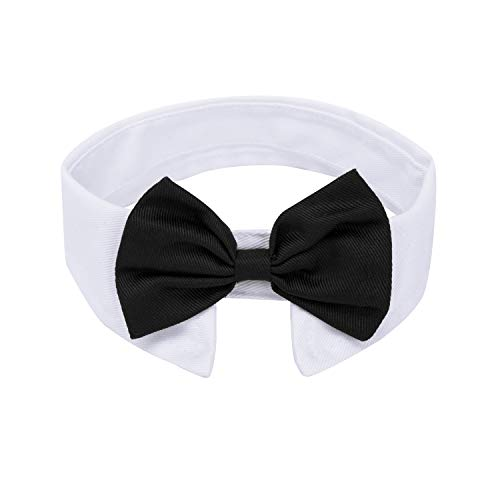 ZTON Handcrafted Adjustable Formal Pet Bowtie Collar Neck Tie for Dogs & Cats (S, Black)