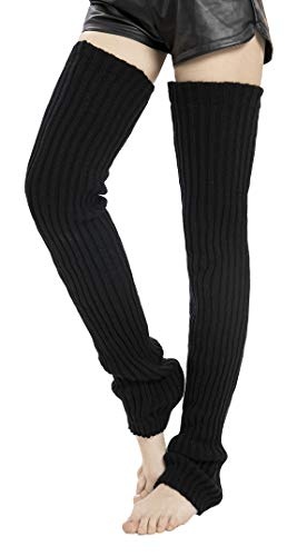 Leotruny Women's Winter Thick Knit Extra Long Thigh High Leg Warmers (C01-Black)
