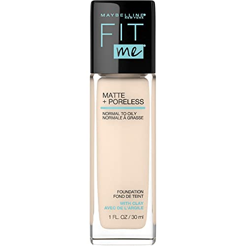 Maybelline Fit Me Matte + Poreless Liquid Foundation Makeup, Porcelain, 1 fl; oz; Oil-Free Foundation