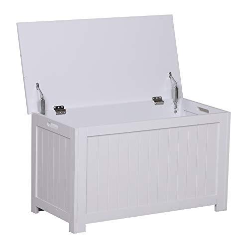 Coffre malle de rangement 81L x 40l x 46H cm MDF blanc