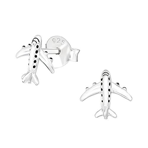 I love silver jewellery - Pendientes de plata de ley con esmalte negro de 7 mm