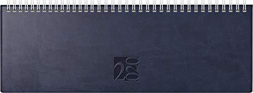 rido/idé 703170230 Tischkalender/Querterminbuch ac-Wochenquerterminer (2 Seiten = 1 Woche, 307 x 105 mm, Kunstleder-Einband West, Kalendarium 2020, Wire-O-Bindung) blau