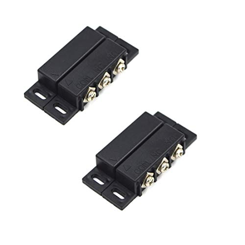 SpzcdZa 2Sets Magnetic Reed Switch Normally Open Closed NC NO Door Alarm Window Security/Magnetic Door Switch/Magnetic Contact Switch/Reed Switch for GPS,Alarm or Other Device,DC 5V 12V 24V Light