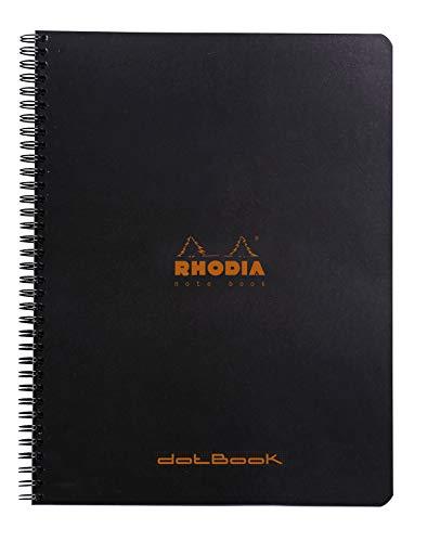 Rhodia 193039C Notizbuch (mit Doppelspirale, Dot grid, 80 Blatt, DIN A4+, 22,5 x 29,7 cm) 1 Stück schwarz