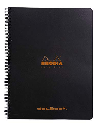 Clairefontaine Libreta Notebook Classic con espiral (22,5x 29,7cm con puntos) 160páginas extraíbles microperforadas, 80g - Negro