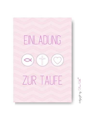 Einladungskarte Taufe Mädchen: Taufkarte Einladung Tauffeier, 10er Set, Karte in DIN A6 (Größe von Postkarte)