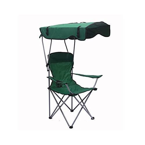 PVDR Silla Reclinable Plegable Camping Portátil Picnic BBQ Taburete Asiento De Pesca con Sombra Y Portavasos Toldo para El Sol Al Aire Libre Carga Máxima 150 Kg (Color : Green)