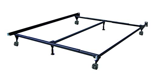 Mantua Heavy-Duty Insta-Lock Universal Adjustable Bed Frame - Black Steel Bed Base Adjusts for Twin, Full, Queen, or King Size Mattress