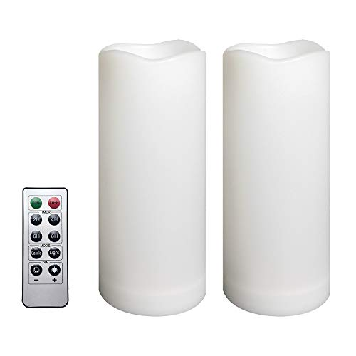 """2 Pack Outdoor Flameless Pillar Candles with Remote and Timer Waterproof Battery Operated Electric LED Candle Set for Gift Home Décor Party Wedding Supplies Garden Christmas Decoration, 3"""" x 7"""""""