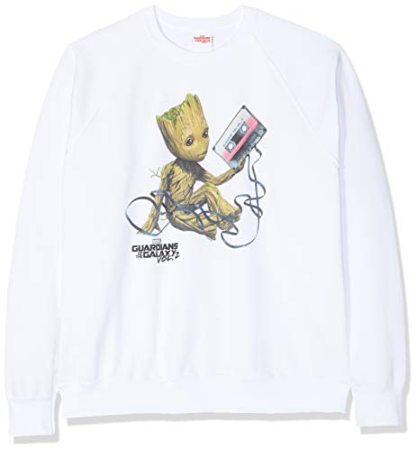 Marvel Guardians of The Galaxy Vol2 Groot Tape Sudadera, Blanco (White Wht), 40 (Talla del Fabricante: Large) para Mujer