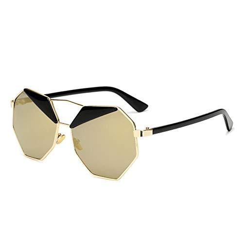HaoHe Gafas de sol tendencia película de color gafas de sol moda polígono ceja gafas de sol Color dorado marco oro local C6, CE975-C