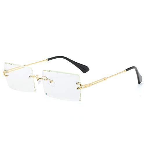 LLLucky rahmenlose Schnittkante quadratische Sonnenbrille Männer und Frauen kleine Farbe Sonnenbrille transparente Dame Sonnenbrille