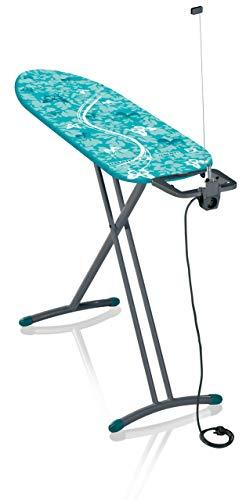Leifheit Bügeltisch Air Board M Solid Plus ist höhenverstellbar, Bügelbrett für Dampfbügeleisen, Dampfbügeltisch mit Zwei-Seiten-Bügeleffekt, Limited Edition grau lagoon