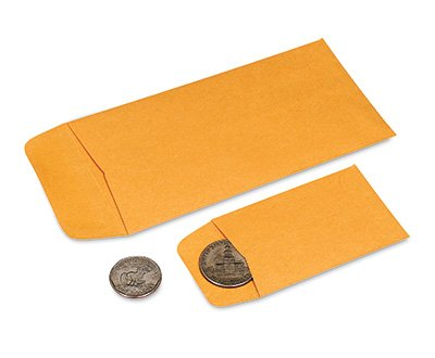 2-1/4″ x 3-1/2″ Small Kraft Coin Envelopes (28 lb.) (500 Envelopes) – AB-34-7-202