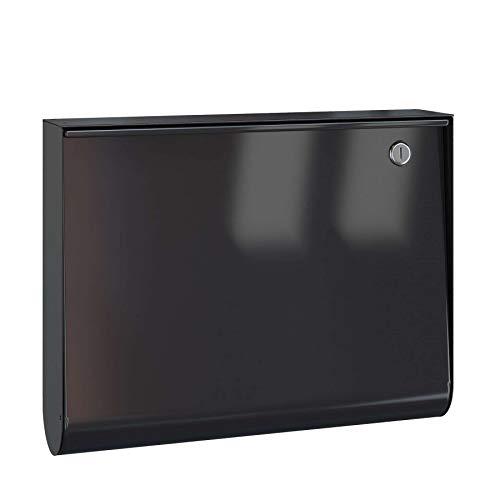 Serafini Briefkasten U-Box Stahl schwarz/Front tiefschwarz 30,9 x 40 x 8,25 cm
