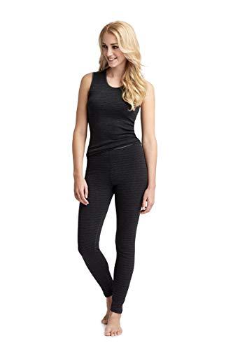 con-ta Thermo Lange Hose, Leggings aus natürlicher Baumwolle, Lange Unterwäsche, wärmende Thermo-Leggings, Damenbekleidung, schwarz Geringelt, Größe: 38