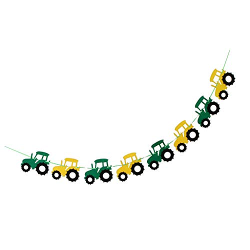 FLAMEER Tractor Garland Banner for Tractor/Farm Kids Birthday Party Supplies Decorations