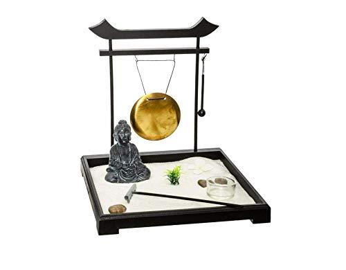 Ducomi Mini Zen Table Garden con Bandeja, Arena, Estatuilla de Buda, Roca - Kit de Meditación Japonesa - Accesorios para El Hogar Decoración de Muebles Interiores (Haiku)