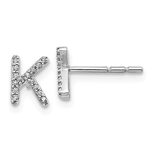 14k White Gold Diamond Initial Monogram Name Letter K Post Stud Earrings Fine Jewellery For Women Gifts For Her