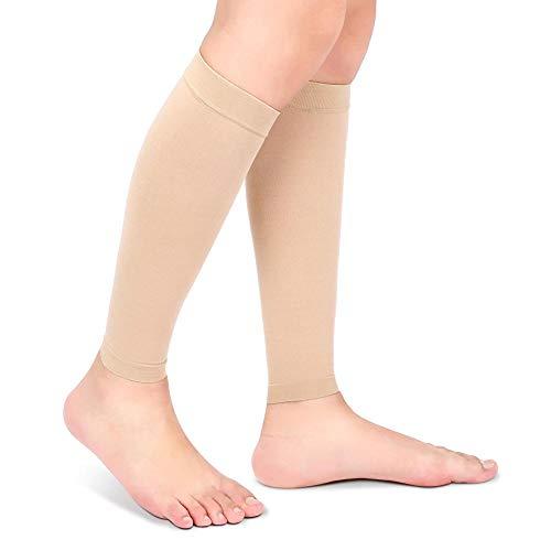 Tbest Wadenkompressionsärmel, Beinkompressionsstrümpfe Kompressionsstrümpfe mit zweistufigen elastischen Socken aus Krampfader Wadenscheide für Männer und Frauen für Sport, Arbeit(L-Beige)
