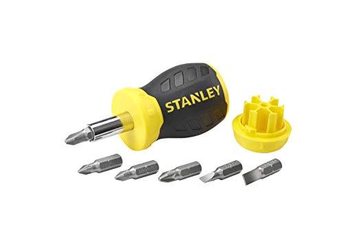 Stanley Bit-Schraubendreher Stubby (ohne Ratsche, kurze Ausführung, sechs Bits, PZ1/2;PH1/2;SL4/5/6, magnetische Spitze) 0-66-357