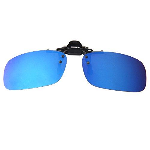 Lenti da sole a specchio LianSan, polarizzate, con clip, sovrapponibili a occhiali da sole rettangolari, ideali per guidare blu BLUE MIRRORED 103