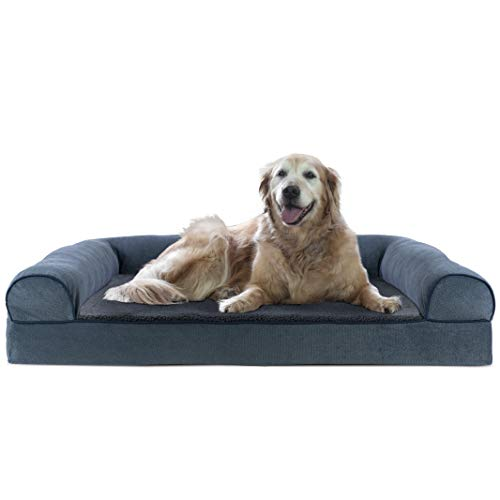 Furhaven Pet Dog Bed - Cooling Gel Memory Foam Faux Fleece and Chenille Soft Woven Traditional Sofa-Style Living Room Couch Pet Bed with Removable Cover for Dogs and Cats, Orion Blue, Jumbo