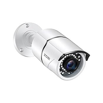 ZOSI 2.0MP 1080p Security Camera 4-in-1 TVI/CVI/AHD/CVBS Surveillance Bullet Camera Indoor Outdoor,120ft Night Vision,Aluminum Metal Housing,Work for 960H,720P,1080P,5MP,4K analog CCTV DVR White