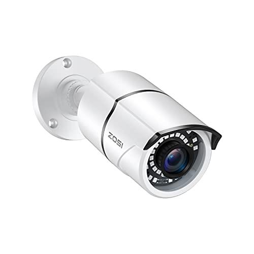ZOSI 2.0MP 1080p Security Camera 4-in-1 TVI/CVI/AHD/CVBS Surveillance Bullet Camera Indoor Outdoor,120ft Night Vision,Aluminum Metal Housing,Work for 960H,720P,1080P,5MP,4K analog CCTV DVR(White)