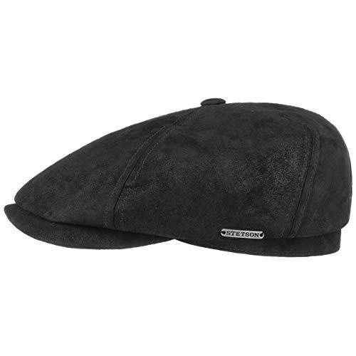 Stetson McCook Vintage Ledercap - Flatcap Herren/Damen - Schiebermütze aus Leder (Schwein, Velours) - Schlägermütze mit Baumwollfutter - Flat Cap Winter/Sommer schwarz XXL (62-63 cm)