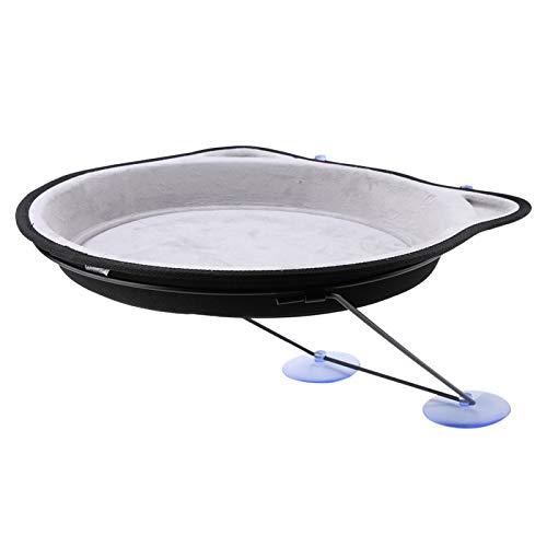 Hatirea Hamaca Colgante para Mascotas, Nido Colgante con Ventosa, Carga Reutilizable de 15 kg con Soportes y ventosas para jardín, balcón para el hogar(Gris)
