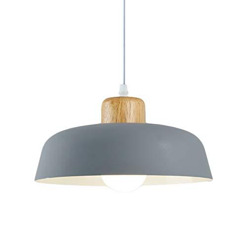 HJXDtech Luz colgante de metal redonda simple moderna nórdica,Lámpara de techo grande con acabado de madera E27 para salón de dormitorio de cocina (Gris)