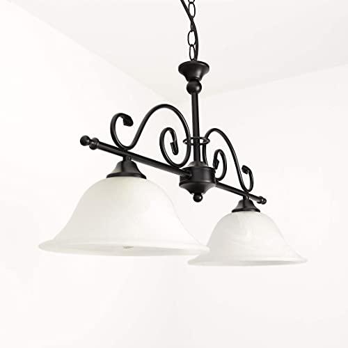 Lámpara de techo negra con lámpara de techo de cristal de alabastro estilo rústico