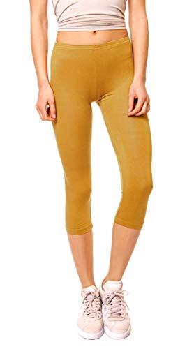 Easy Young Fashion Damen Basic Sommer Jersey Capri 3/4 Leggings Leggins Unterzieh Hose Kurz Baumwolle Stretch Einfarbig Uni One Size Curry