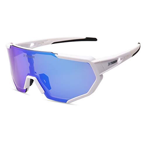 X-TIGER Gafas Ciclismo CE Certificación Polarizadas con 3 Lentes Intercambiables UV 400 Gafas,Corriendo,Moto MTB Bicicleta Montaña,Camping y Actividades al Aire Libre para Hombres y Mujeres TR-90 ⭐