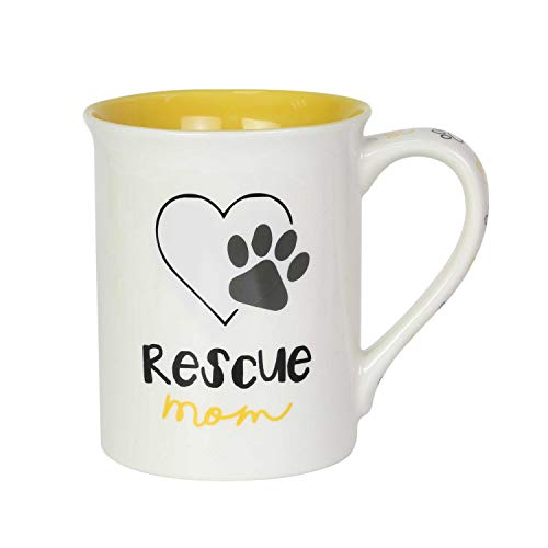 Enesco 6003704 Our Name is Mud Rescue Dog Mom Coffee Mug, 16 Ounce, Multicolor