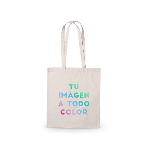 Promo Shop Bolsa 100% Algodón Reutilizable. Gran Resistencia (hasta 9 Kg) Personalízala con tu Imagen o diseño Preferido.