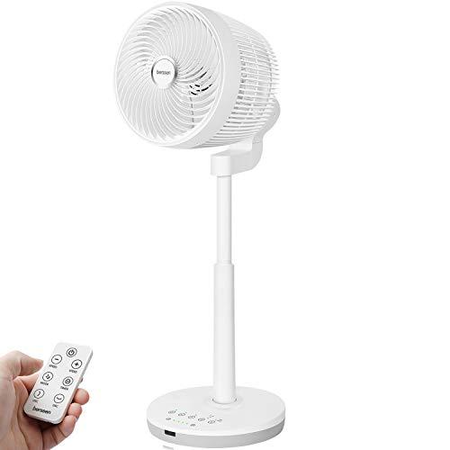 berssen Ventilateur Silencieux sur Pied Ventilateur de Table DC Moteur Ventilateur Turbo Télécommande 3D Oscillant pour Circulation d'air Ecran Tactile / 4 Vitesses / 4 Pales / 7 Minuterie / 30W