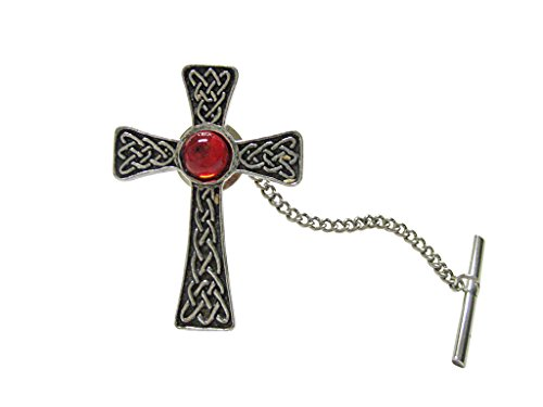 Kiola Designs Large Celtic Cross with Red Center Tie Tack