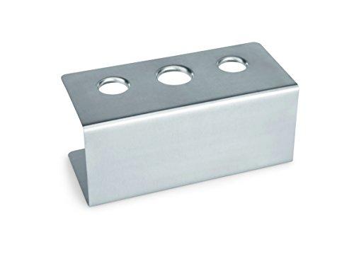 Eistütenhalter aus Chromnickelstahl - mit 2 Löchern à 26 mm und 1 Loch à 31 mm / Abmessung: 20 x 9,5 x 9 cm