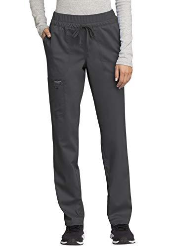 CHEROKEE Workwear WW Revolution Mid Rise Tapered Leg Drawstring Pant, WW105, XL, Pewter