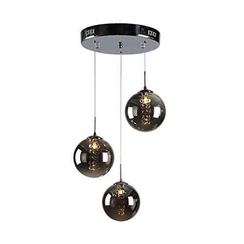 Hängelampe Hängeleuchte Pendelleuchte Pendellampe LED Moderne Kristall Kronleuchter Kugel Glas Lampenschirm Romantische Deckenleuchte für Kücheninsel Flur G14 Glühbirnen 3 Lichter, Dunkelgrau