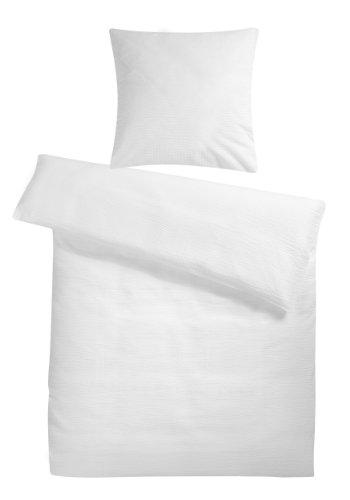 Leichte Seersucker Bettwäsche 155 x 220 cm Weiß – atmungsaktiver Kopfkissen- und Bettdecken-Bezug aus reiner Baumwolle mit Reißverschluss – 2 teiliges kühles Sommer-Bettwäsche Set in Übergröße